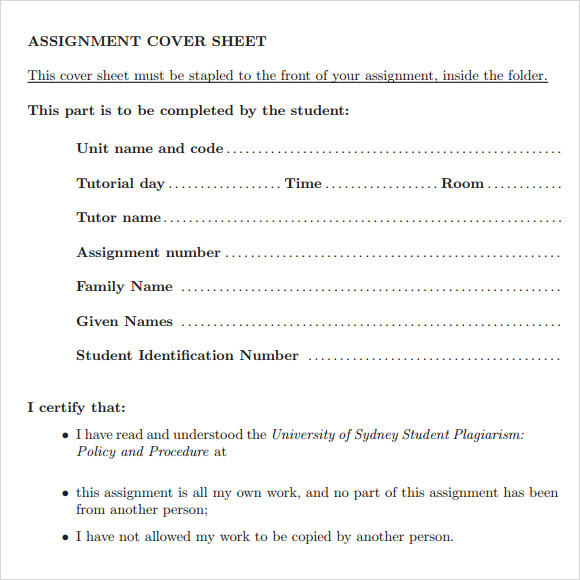 assignment cover sheet template