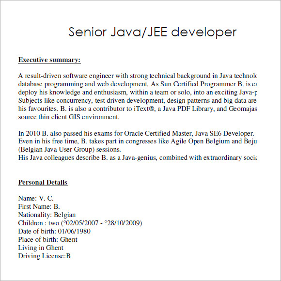 bvc pdf - Sample Java Developer Resume