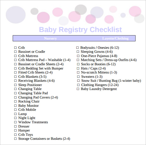 Checklist For Baby Shower Registry: 10+ Sample Baby Registry Checklists