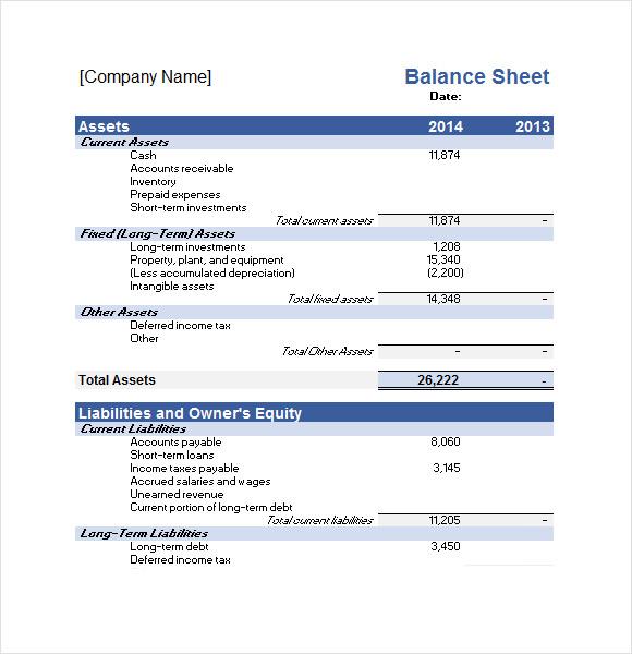 balance sheet sample excel
