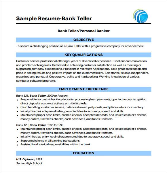 Sample Bank Teller Resume Objective
