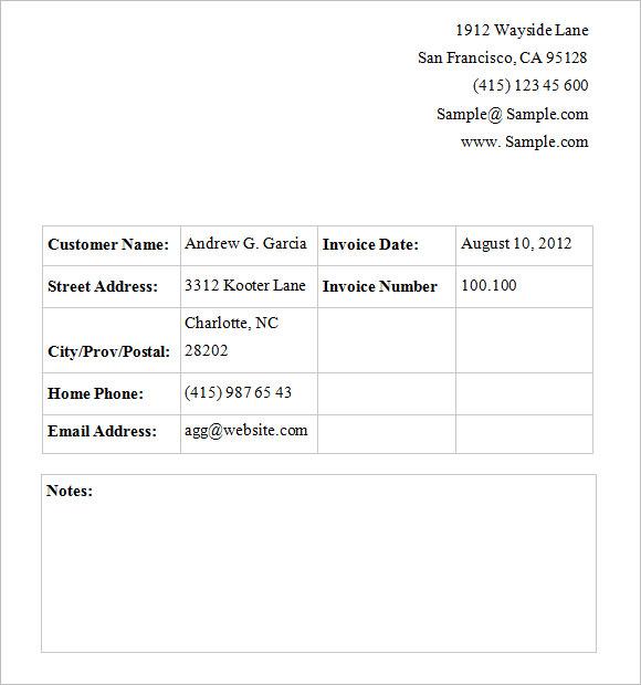basic service invoice template