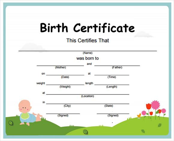 sample birth certificate template .