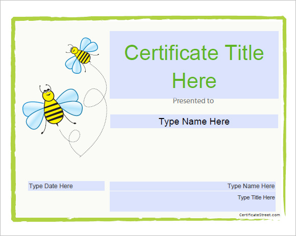 Sample certificate templates for kids 9 free documents in pdf psd blank certificate template for kids yadclub Gallery