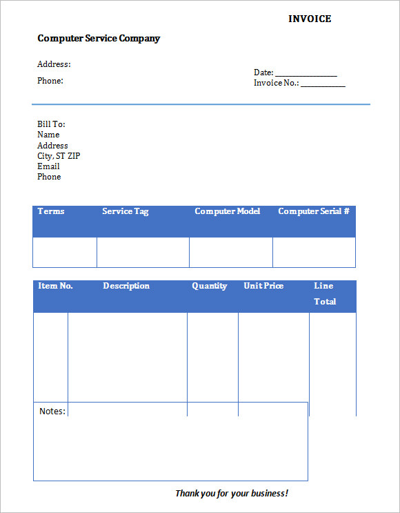 10 Service Invoice Templates Free Samples Examples Format
