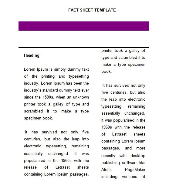 Fact Sheet Template 8 Download Documents in PDF Word – Fact Sheet Template