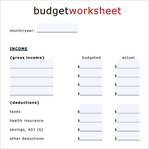 blank household budget template