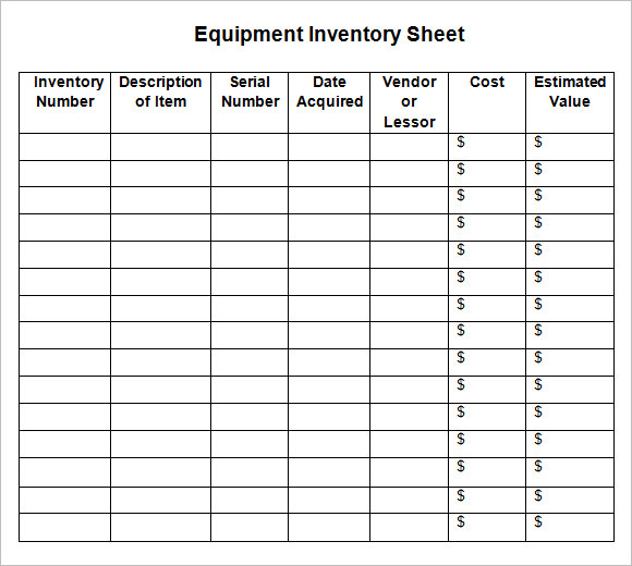 Sample Inventory Sheet   Examples Format