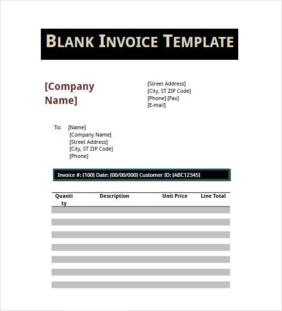 blank invoice template pdf .