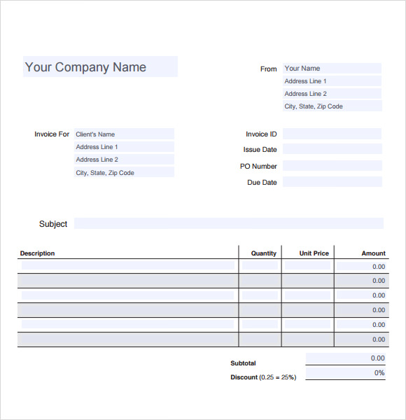 blank invoice template word