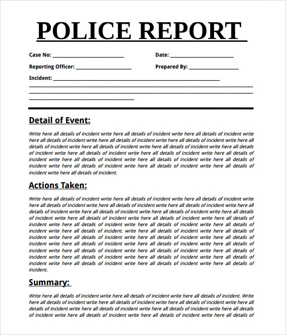 Sample Police Report 7 Documents in Word PDF – Mock Police Report