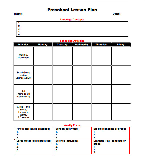 blank preschool lesson plan template