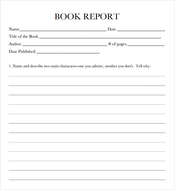Book report form middle school
