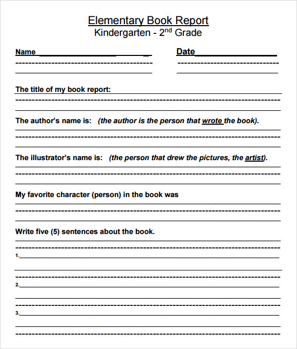 Book Report Templates Second Grade  Book Report Template Free