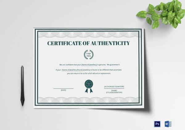 16+ Sample Certificate of Authenticity - Documents in PDF, PSD