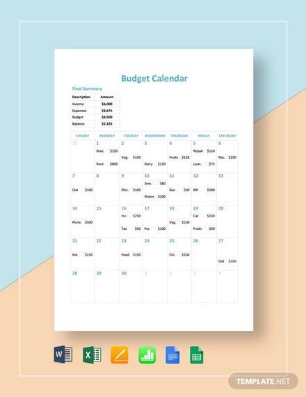 Budget Calendar Template from images.sampletemplates.com