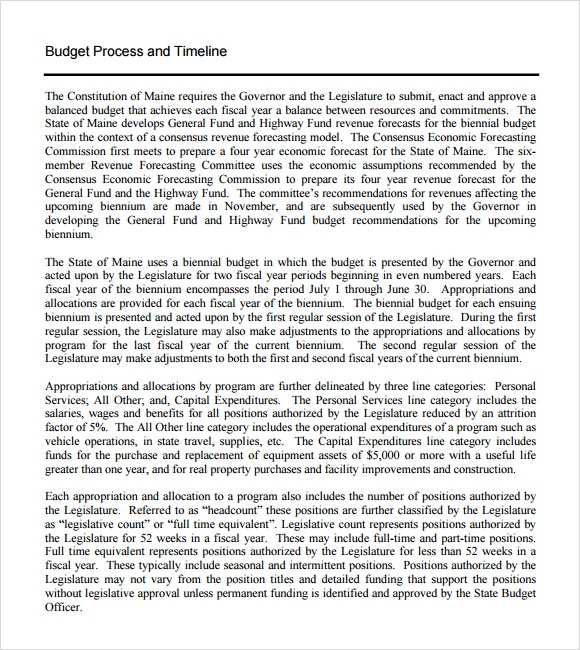 budget process and timeline template