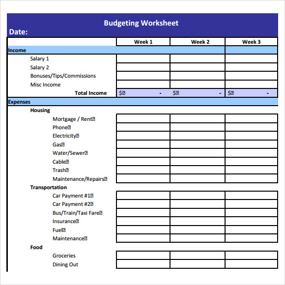 Budget Worksheet Template - 6+ Free Samples , Examples , Format