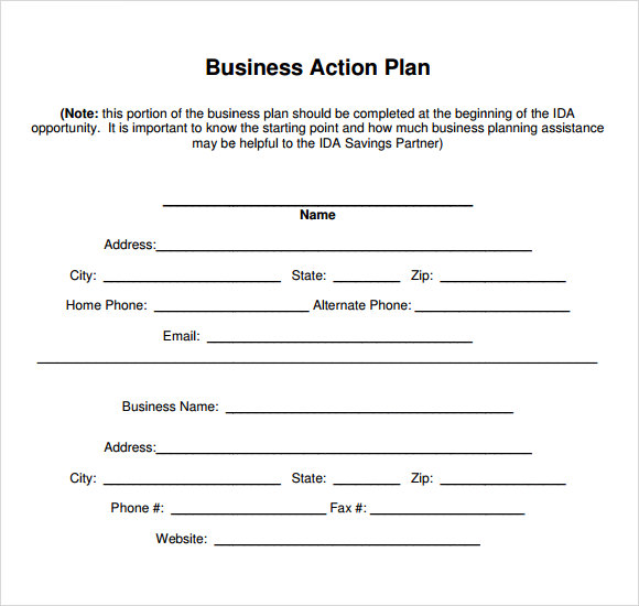 Sample Business Action Plan   Documents In Word Pdf