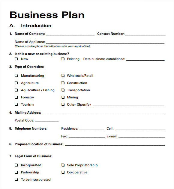 Printable Business Plan Template SW6X9Riy