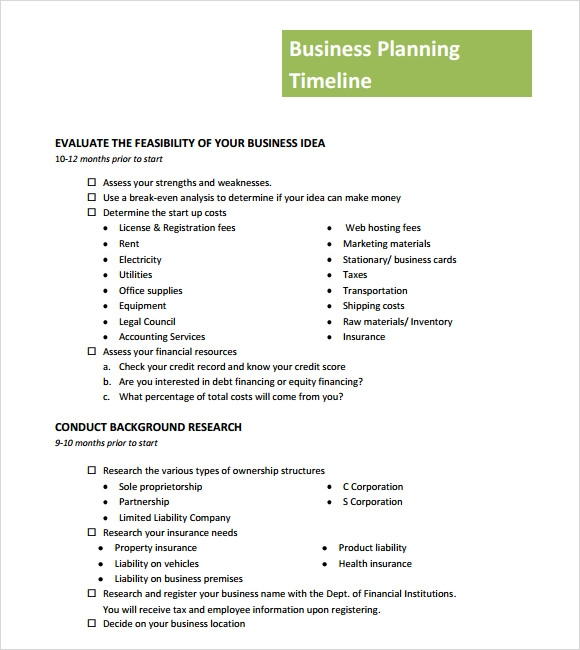 High Quality Business Planning Timeline Template