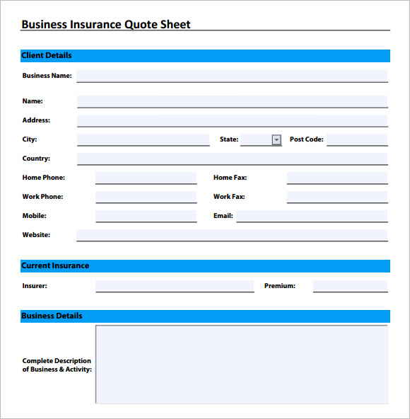 Free Business Quote Forms Template - Commercial invoice packing list template for service business