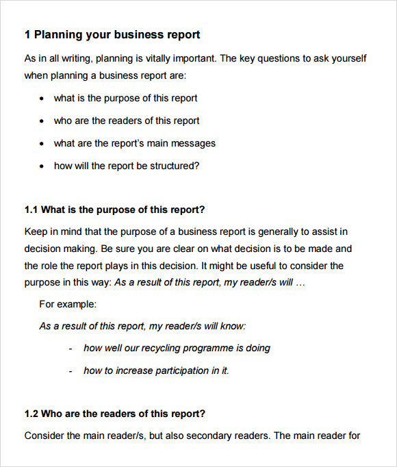 Business Report Format  Format For Report