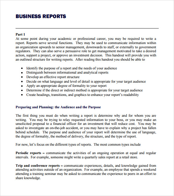 business reports writing format
