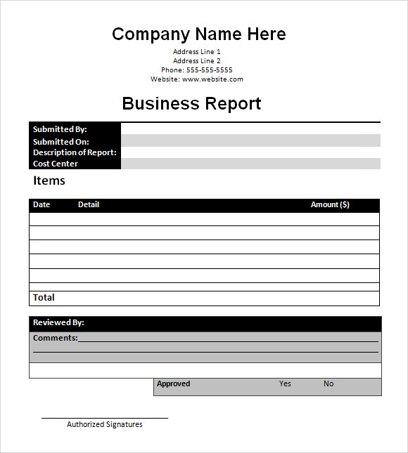 Sample Business Report Template Business Report Template