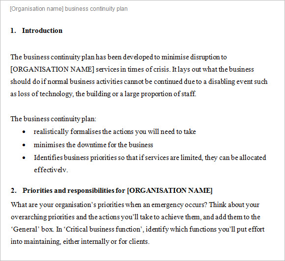 Doc638903 Business Contingency Plan Example – Business Contingency Plan Template