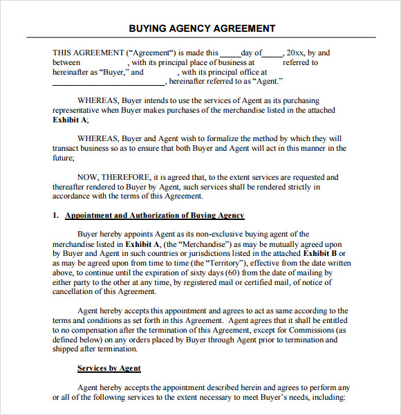 Sample Agency Agreement Template   Free Documents In Pdf
