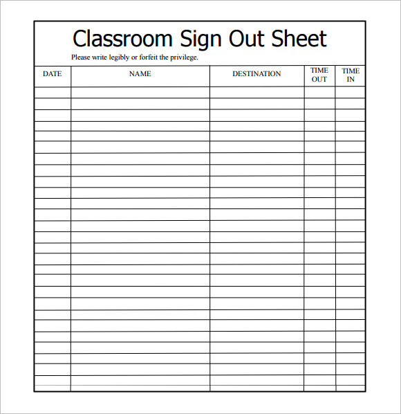 CMS Classroom Sign Out Sheet  Free Sign In Templates Printable