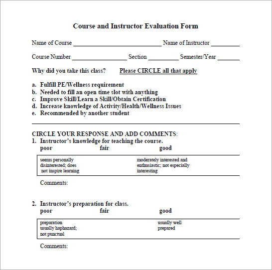 Sample Instructor Evaluation Form - Documents In Pdf, Word