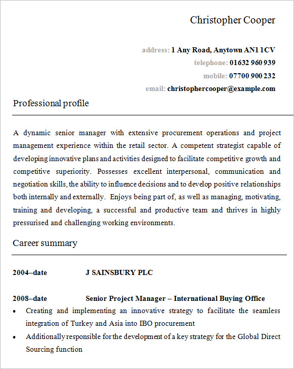 retail manager resume - Retail Management Resume Examples