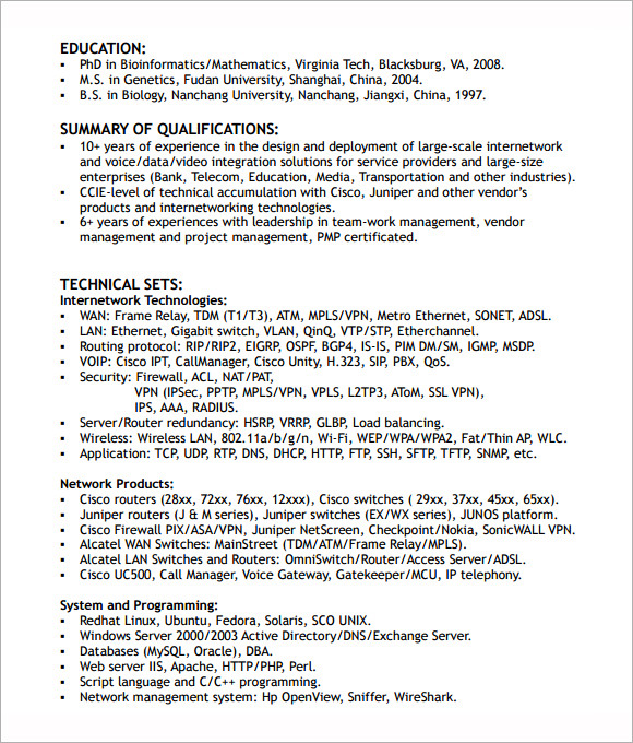 networking engineer resume format - Cisco Network Engineer Sample Resume