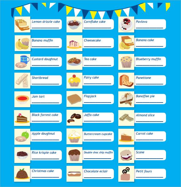 cakebake raffle sheet