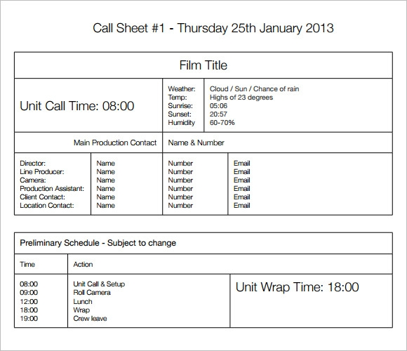 9+ Sample Call Sheet Templates | Sample Templates