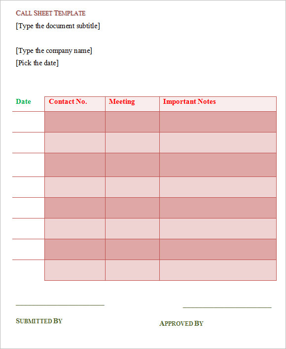 8 Sample Call Sheet Templates Free Sample Example Format – Sample Contact Sheet