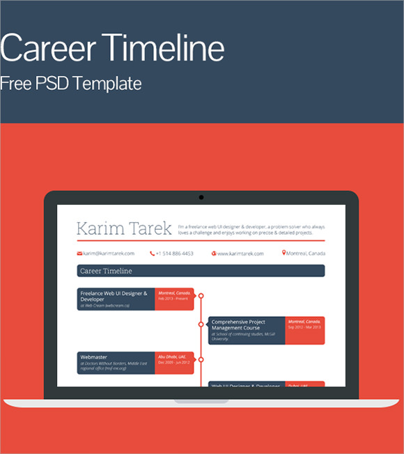 career timeline template psd