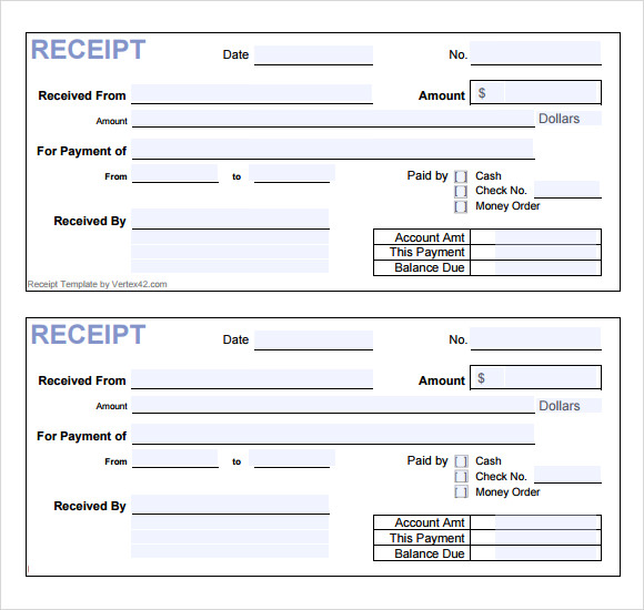 14 cash receipt templates free samples examples for E receipt template