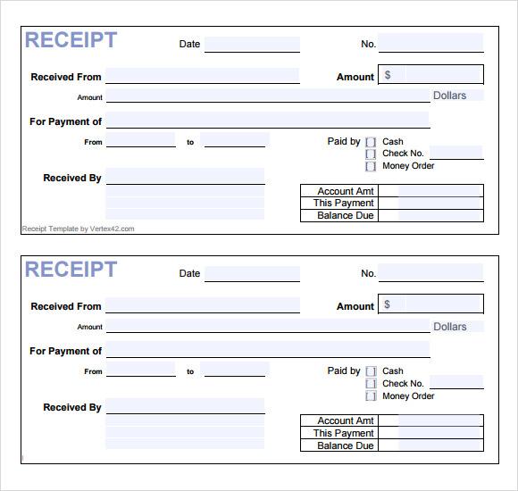cash receipt template pdf .