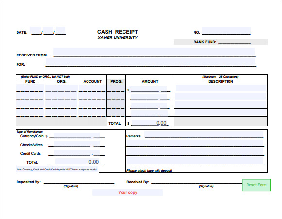 Simple Receipt Template 9 Free Samples Examples Format – Simple Cash Receipt