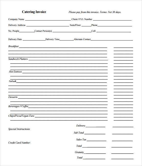 Catering Invoice Template   Free Samples Examples Format