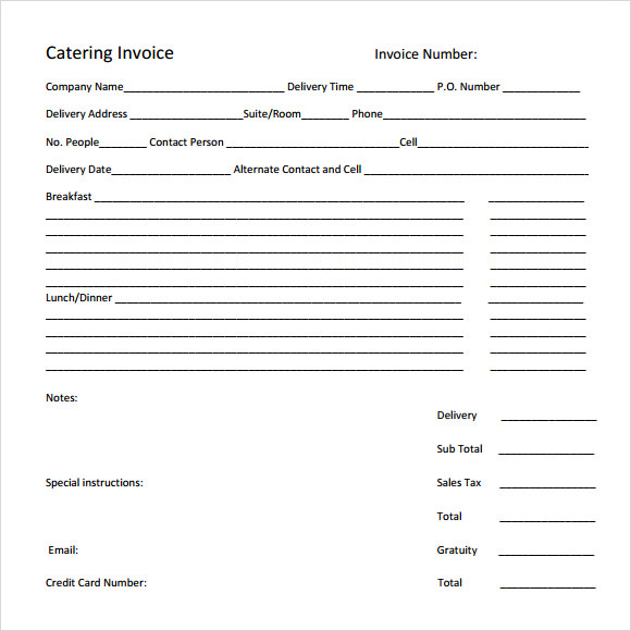 Catering Invoice Templates