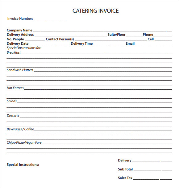 11 catering invoice templates free samples examples for Catering email template