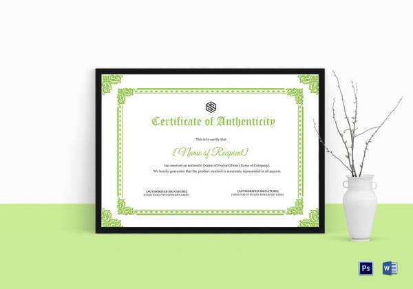 certificate of authenticity template in psd format
