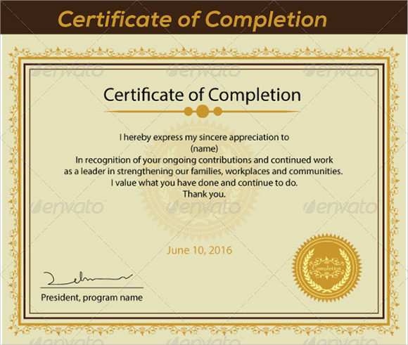 Certificate Of Completion Template Printable  Blank Certificates Of Completion