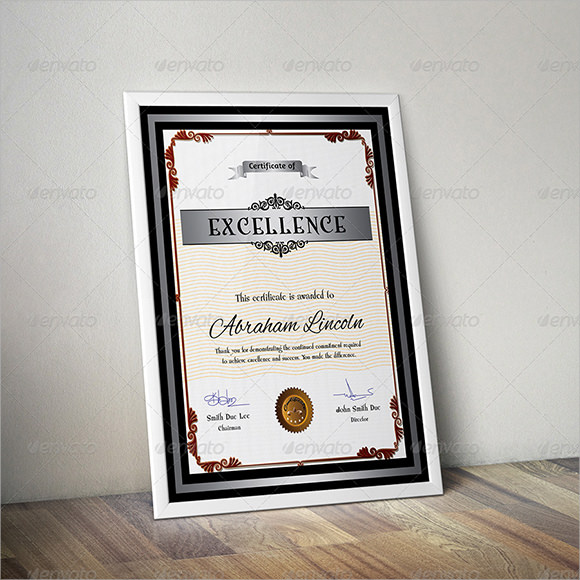 certificate of excellence sample