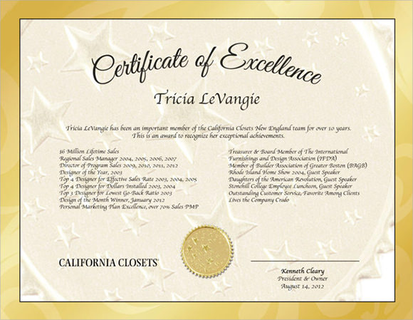 Certificate Of Excellence Sample  Certificates Of Excellence Templates