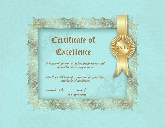 Certificate Of Excellence Template  Certificates Of Excellence Templates